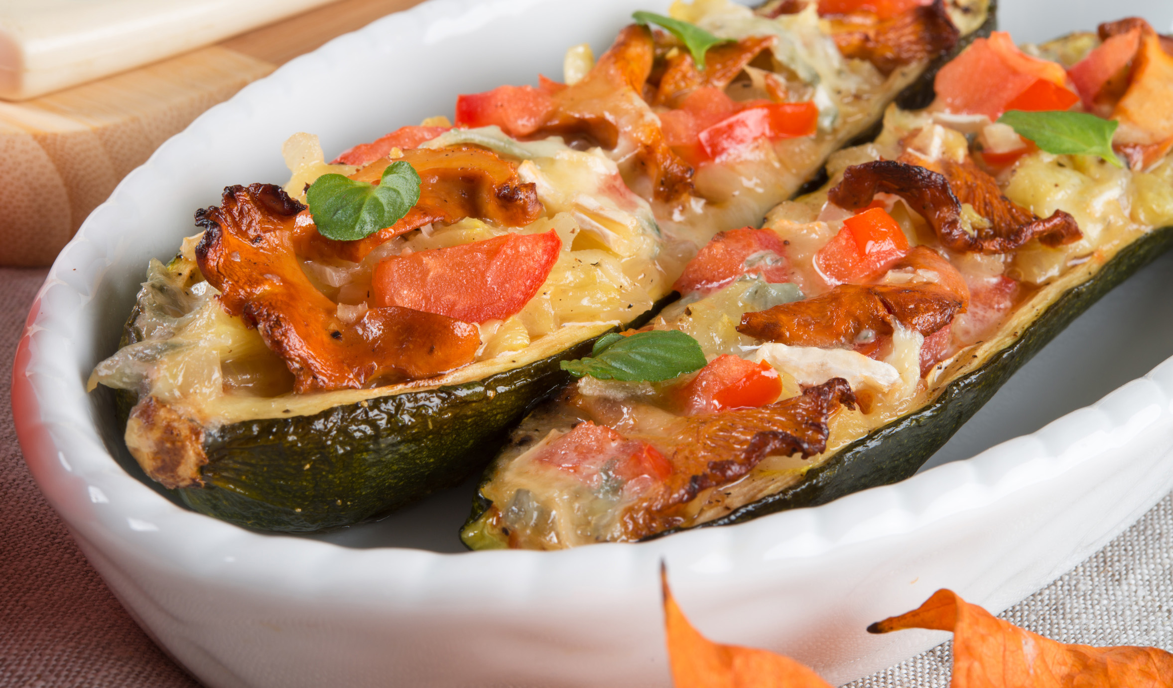 Überbackene Zucchini-Kähne